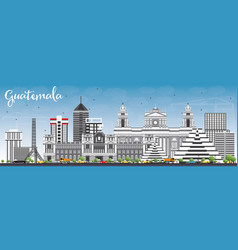 guatemala skyline with gray buildings and blue sky vector image