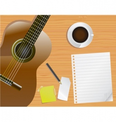 guitar and notepaper vector image