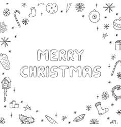 Hand drawn christmas frame doodle style vector