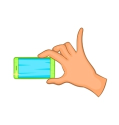 Hand holding mobile phone icon cartoon style vector