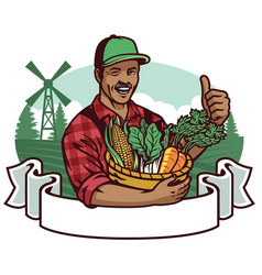 Happy farmer show his vegetables vector