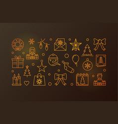 happy new year line golden vector image