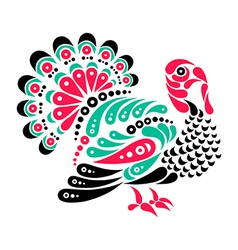 Happy Thanksgiving beautiful turkey tattoo symbol vector