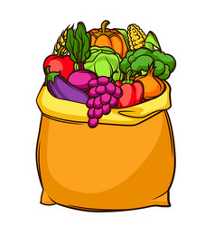 harvest of bag with seasonal fruits vector image