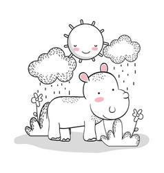hippopotamus with happy sun and clouds raining vector image