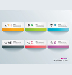 infographics tab in horizontal paper index with 6 vector image