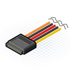 Isometric 16 Pin SATA Connector vector image