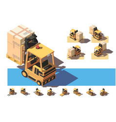 isometric 3d forkit with transportation of a box vector image