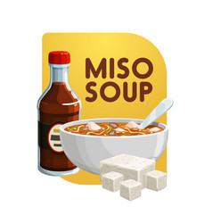 Japanese cuisine miso soup soy food products vector