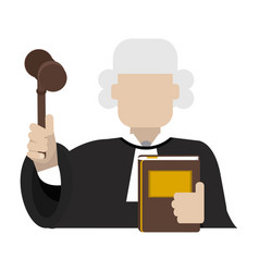 Judge with gavel avatar vector