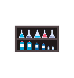 Laboratory glassware and chemicals bottles flat vector