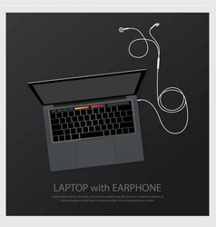 Laptop with music earphones vector