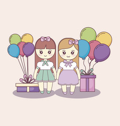little girls with gifts boxes and balloons helium vector image
