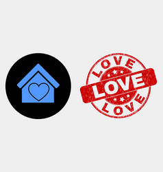 Love house icon and grunge love stamp seal vector