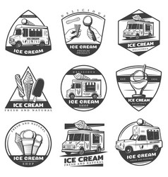 Monochrome vintage ice cream labels set vector