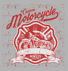 motorcycle side view hand drawn classic chopper vector image