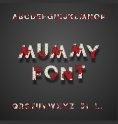 mummy bandage font with blood halloween typeface vector image