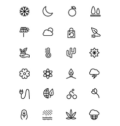 Nature and ecology line icons 3 vector
