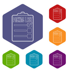 Packing list icons hexahedron vector