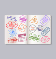 Passport stamps travel and immigration marks vector