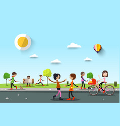 people in city park woen on street and man vector image