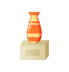 pitcher on stone platform ceramic jug vector image
