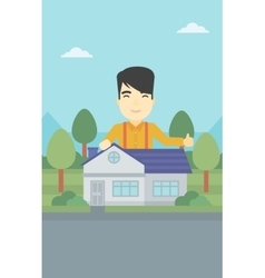 Real estate agent giving thumb up vector image
