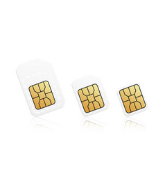 realistic phone card set mobile sim card types vector image