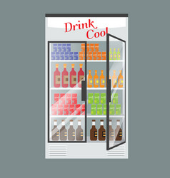 refrigerated supermarket display case full with vector image