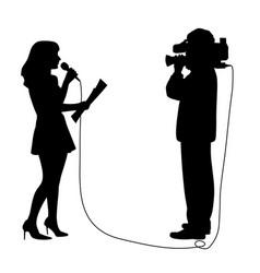 Reporter anchor woman and cameraman reportage vector