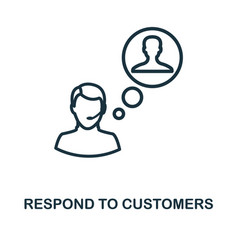 Respond to customers icon outline style thin line vector
