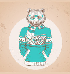Retro hipster fashion animal bear vector