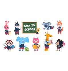 School animal characters funny cartoon kids vector