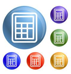 School calculator icons set vector