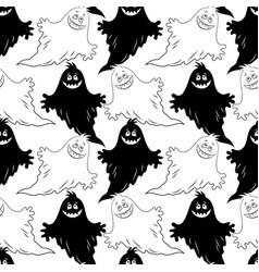 seamless halloween pattern ghosts vector image
