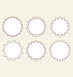 set of 6 very simple round frames with fully vector image
