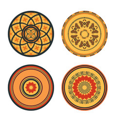 Set of african decorative elements tribal print vector