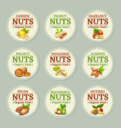 Set of nuts labels with round vector