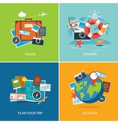 set of summer and travel flat design banner templa vector image
