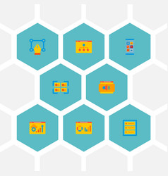 Set website icons flat style symbols vector