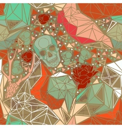 Skull with floral geometric ornament vector image