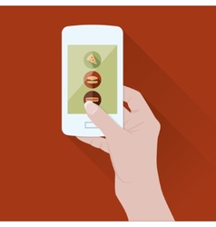 smart phone with food application vector image