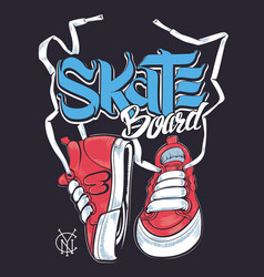 Sneakers and skate board lettering shirt print vector