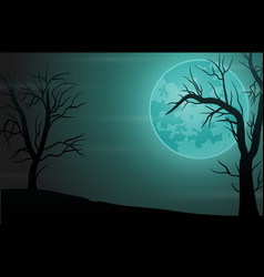 Spooky forest night background with full moon vector
