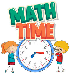 Sticker design for math time with kids and big vector