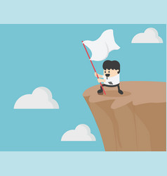 successful businessman holding a flag on the cliff vector image