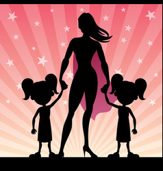 Super mom with twin girls vector