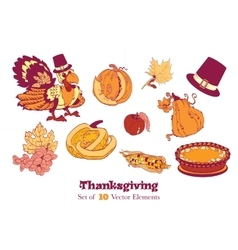 Ten Thanksgiving Design Elements Turkey pumpkin vector image