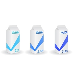 Three milk boxes vector