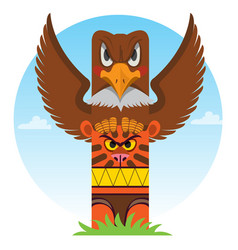 Totem ancient beliefs and cults design gaming vector